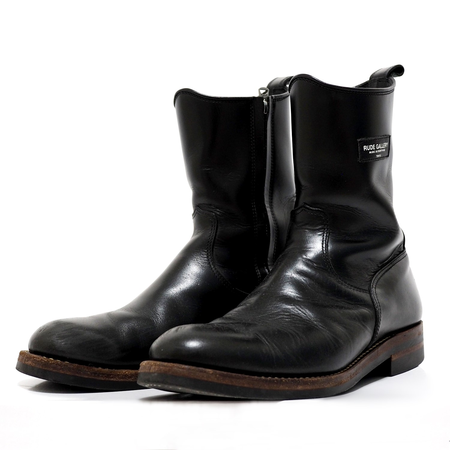 RUDE GALLERY - SIDE ZIP BOOTS(BLACK) 15AW